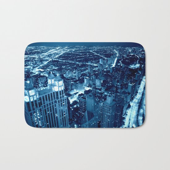 Chicago Nights Blue Bath Mat