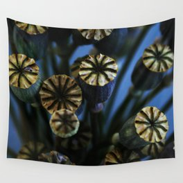Poppy Flower Pods Bouquet Wall Tapestry