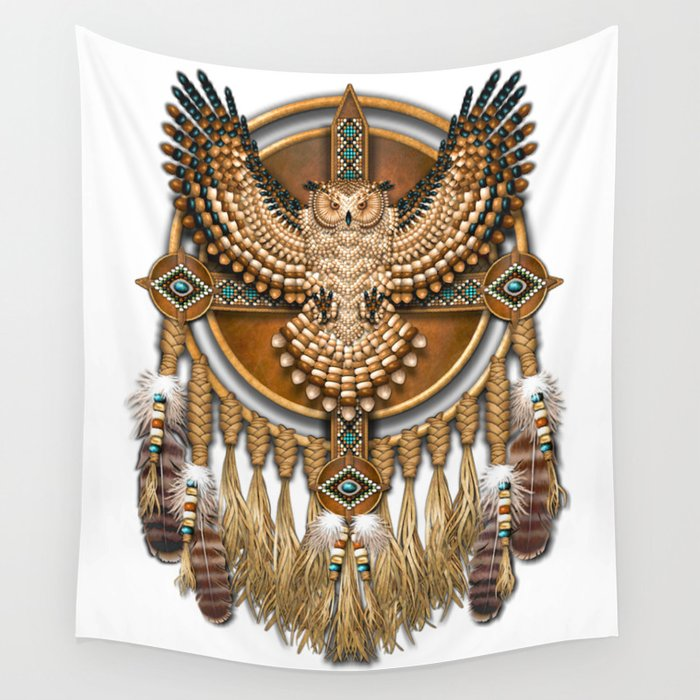 Native American-Style Great Horned Owl Mandala Wall Tapestry