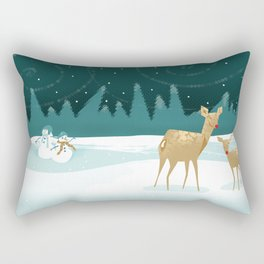 Deer Christmas Snowmen Rectangular Pillow