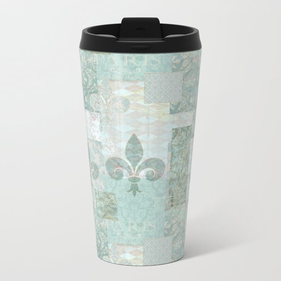teal baroque vintage patchtwork Metal Travel Mug