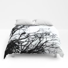 Dove Bird & Winter tree Silhouette Comforters