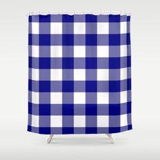 gingham navy bluewhite shower curtain