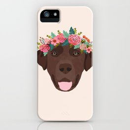 Chocolate Lab floral crown dog breed pet art labrador retrievers dog lovers giftsChocolate Lab flora iPhone Case