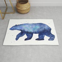 Blue Galaxy Forest Bear Silhouette Rug