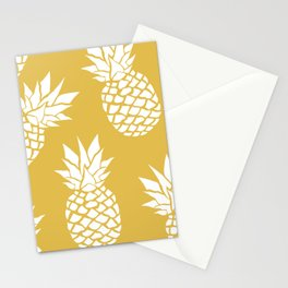 Pineapple, Tropical Hawaii, Sunshine, Yellow and White Stationery Cards