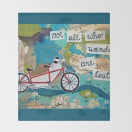 Not all who Wander are Lost - Red Tandem Bicycle Throw Blanket