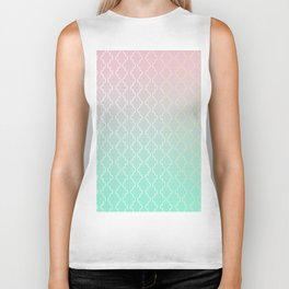Moroccan pattern with mint, pink and gold Biker Tank
