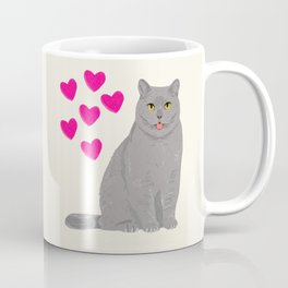Purrfect grey cat cute kitten valentine gift for cat lady love kids art heart valentines day pets Coffee Mug