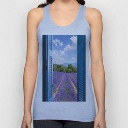 wooden shutters, lavender field Unisex Tank Top