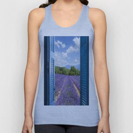wooden shutters, lavender field Unisex Tank Top