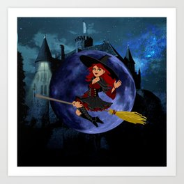 Halloween Witch and Blue Moon Art Print