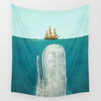 white marble Wall Tapestries featuring The Whale  by Terry Fan
