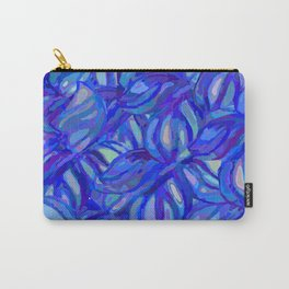Abstract flowers watercolor pattern with blue, azure and cobalt blue colors Carry-All Pouch