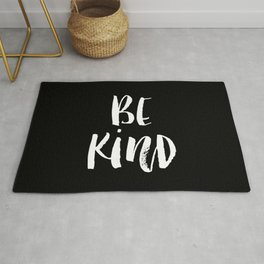Be Kind black and white watercolor modern typography minimalism home room wall decor Rug