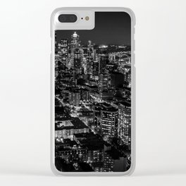 Seattle from the Space Needle in Black and White Clear iPhone Case