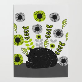 Sleepy cat and floral bouquet Poster