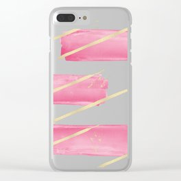 Pink Girly Watercolor Brushstrokes Gold Stripes Clear iPhone Case