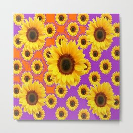 Sunflower Patterns on Orange & Purple Color Metal Print