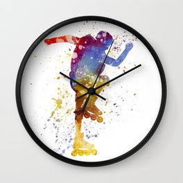 Man roller skater inline 02 in watercolor Wall Clock