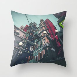 Yard in Inner Town Throw Pillow