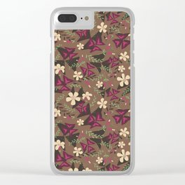 Purple Shamrock Floral Layered Pattern / Brown Clear iPhone Case