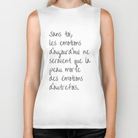amelie Biker Tanks featuring Without you, today's emotions.. quote from Amelie by Mallory Welch