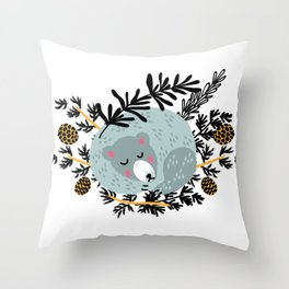 slipping bear Throw Pillow