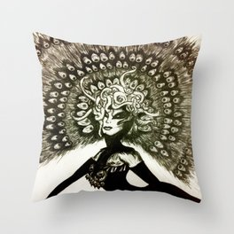 Peacock Lady Throw Pillow