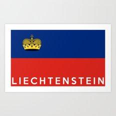 Liechtenstein country flag name text Art Print