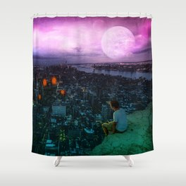 Ships rushing over the city by GEN Z Shower Curtain