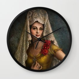 Spanish Beauty with Lace Mantilla and Comb by Jesus Helguera Wall Clock