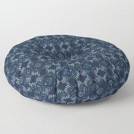 Indigo Tie Dye Batik Hand Drawn Damask Blue Floor Pillow