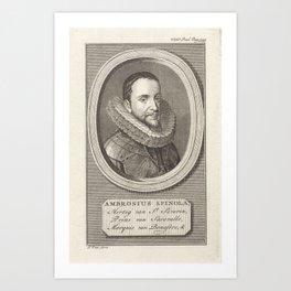 Portret van Ambrogio Spinola, markies of the Balbases, Jan Punt, 1760 Art Print