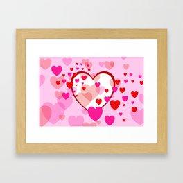 Flying Hearts pink red white Framed Art Print