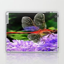 Red Dragonfly on Violet Purple Flowers Laptop & iPad Skin