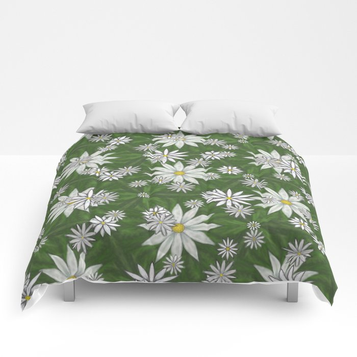 White Flowers on Green Background Pattern Comforters