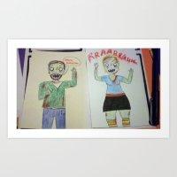 Zombie Sketches Art Print