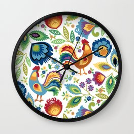 Polish Folk Roosters White Wall Clock
