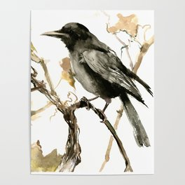 Crow in the Fall, Tribal Crow Raven art Poster