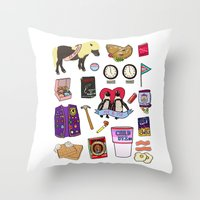 parks and recreation Throw Pillows featuring Parks & Recreation  by Shanti Draws