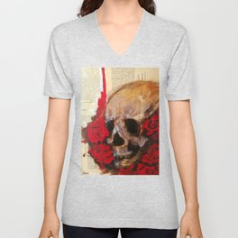 Skull and red roses Unisex V-Neck