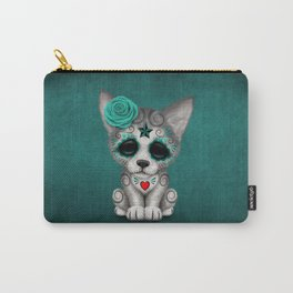 Blue Day of the Dead Sugar Skull Wolf Cub Carry-All Pouch