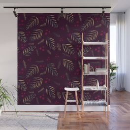 Christmas tree branches and berries - burgundy Wall Mural