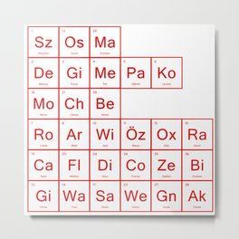Periodic Table of Arsenal Metal Print