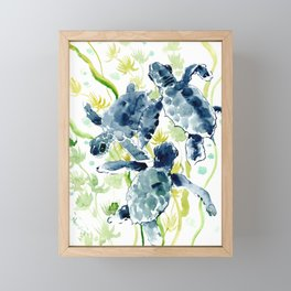 Sea Turtles , Indigo Blue Olive green Turtle art Framed Mini Art Print