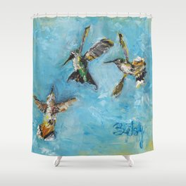 Hummingbird Trio: A Brave Black-chinned takes on the Rufous Twins Shower Curtain