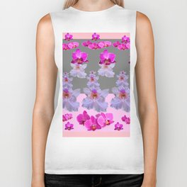 PURPLE  FUCHSIA ORCHIDS  SPRINKLES ON  GREY-PINK ART Biker Tank