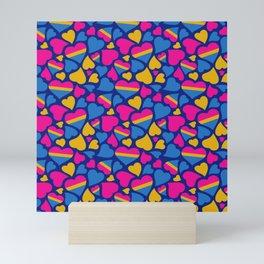 Pan Pride Hearts Pattern Mini Art Print