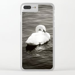 Swans on a river of sadness Clear iPhone Case
